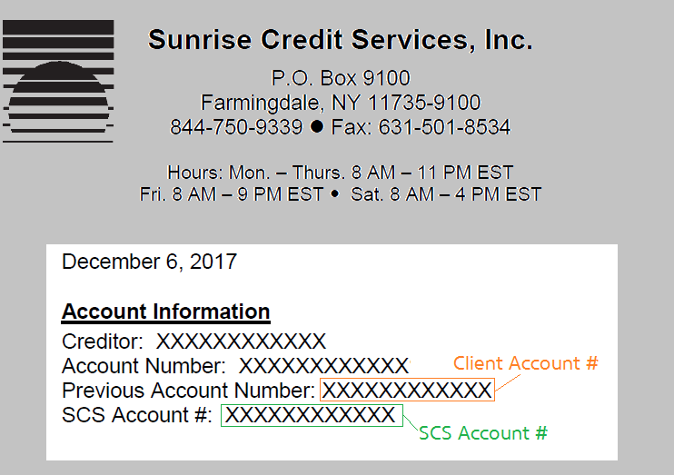 Account information location image